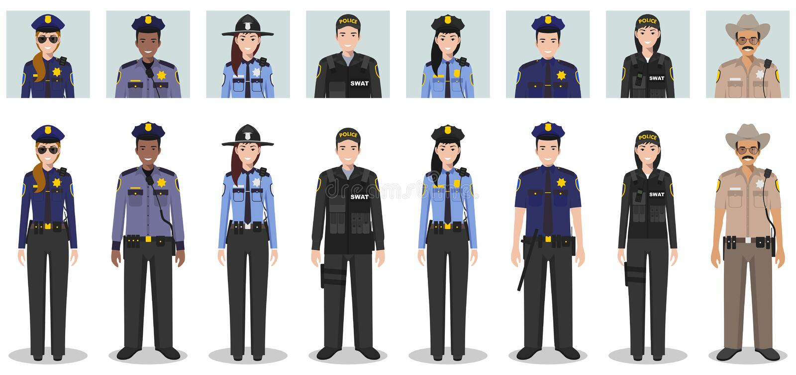 Police people concept. Set of different detailed illustration and avatars icons of SWAT officer, policeman, policewoman and sherif royalty free stock photos