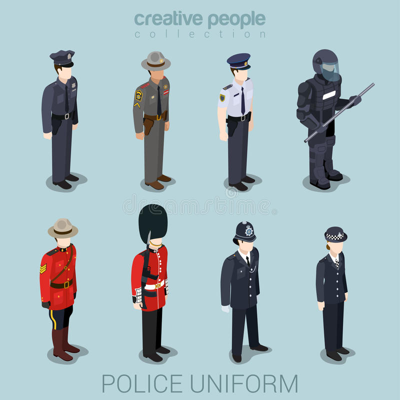 Police people in uniform flat style isometric icon set vector illustration