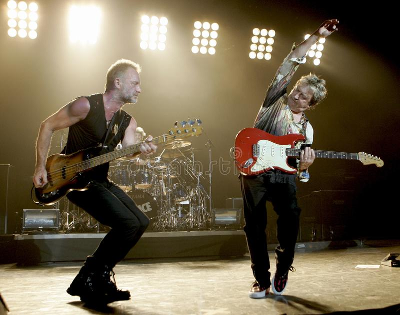 The Police perform in concert. Sting and Andy Summers R with The Police perform in concert at the Cruzan Amphitheatre in West Palm Beach, Florida on May 17, 2008 stock photography