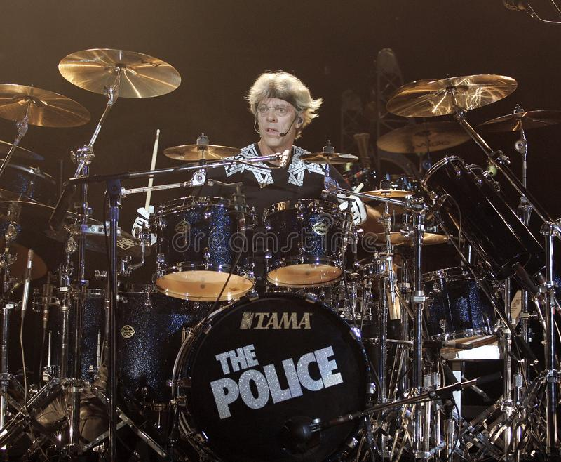 The Police performs in concert. Stewart Copeland with The Police performs in concert at the Cruzan Amphitheatre in West Palm Beach, Florida on May 17, 2008 stock photo