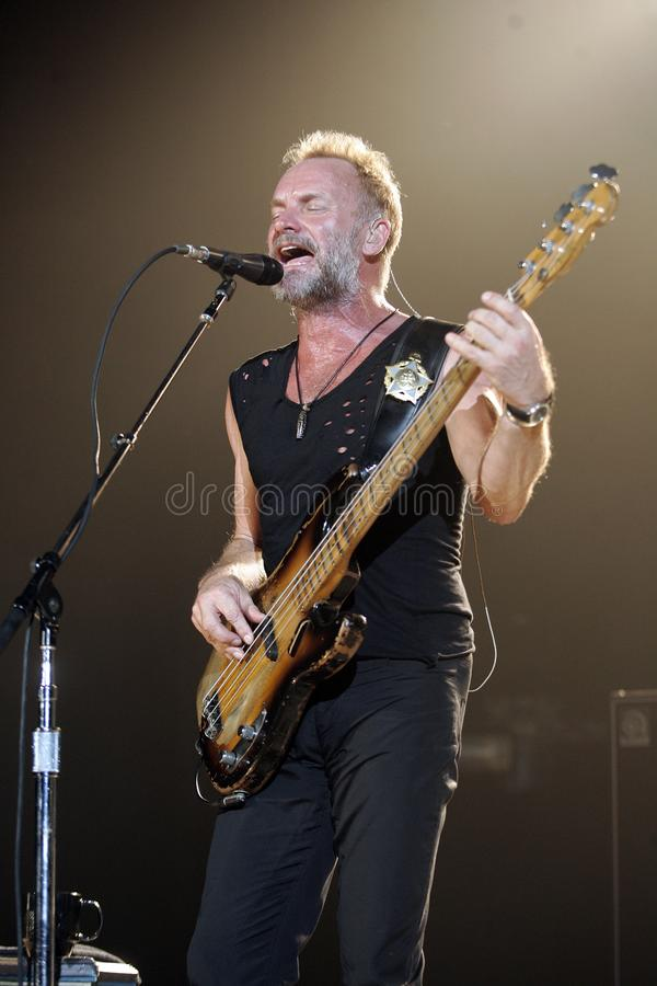 The Police performs in concert. Sting with The Police performs in concert at the Cruzan Amphitheatre in West Palm Beach, Florida on May 17, 2008 royalty free stock image