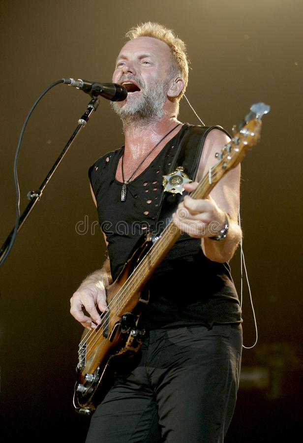 The Police performs in concert. Sting with The Police performs in concert at the Cruzan Amphitheatre in West Palm Beach, Florida on May 17, 2008 royalty free stock images