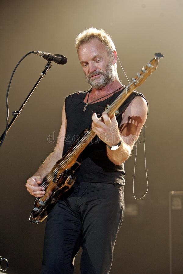 The Police performs in concert. Sting with The Police performs in concert at the Cruzan Amphitheatre in West Palm Beach, Florida on May 17, 2008 stock photo