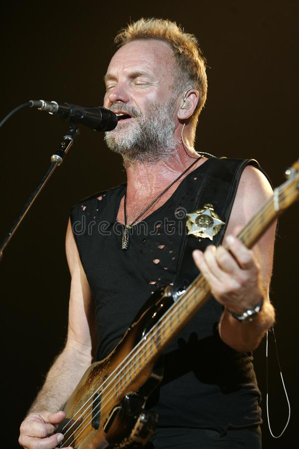 The Police performs in concert. Sting with The Police performs in concert at the Cruzan Amphitheatre in West Palm Beach, Florida on May 17, 2008 royalty free stock photography
