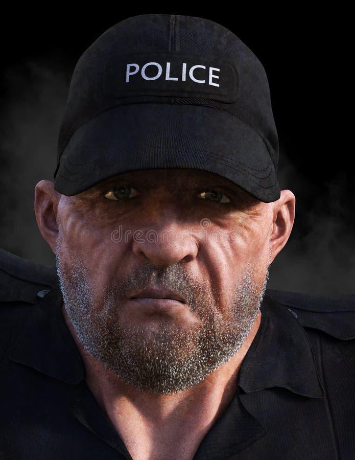 Police, policier, flic, plan rapproché, gars dur illustration stock
