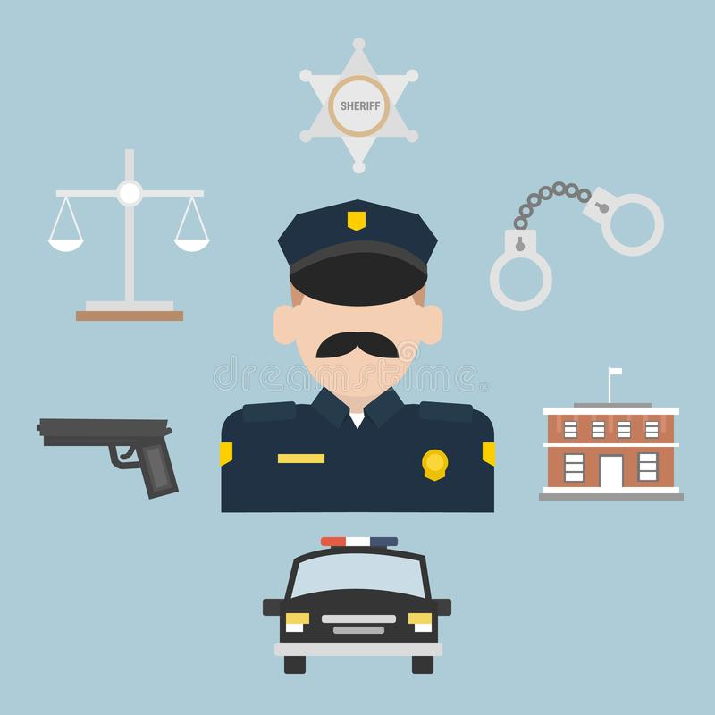 Police profession flat icons with officer uniform. stock illustration