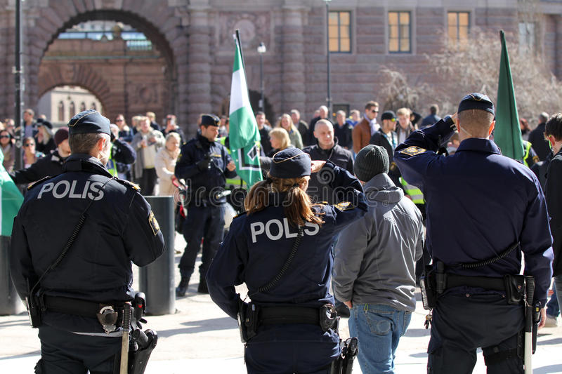 The police at a rally in the city stock photo