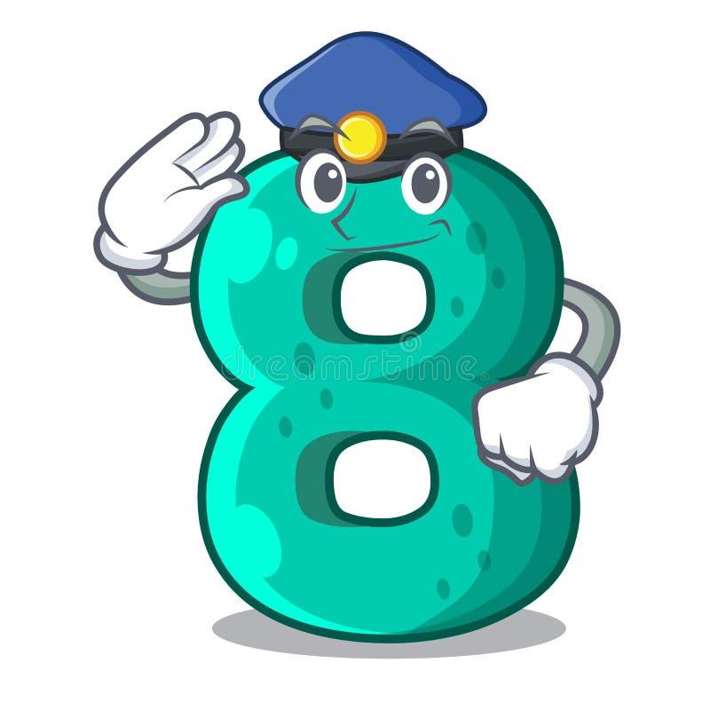 Police raster version cartoon shaped Number Eight. Vector illustration stock illustration