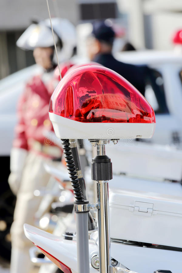 Police red light. Mounted polish police motorcycle stock photo