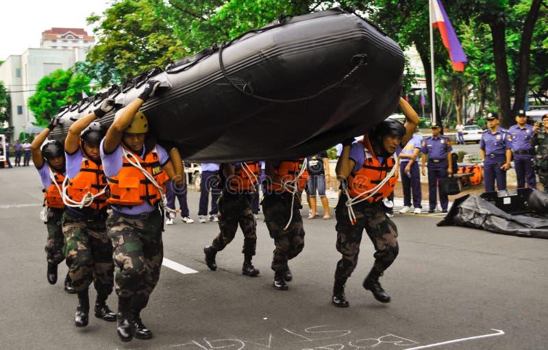 Police rescue training stock photo