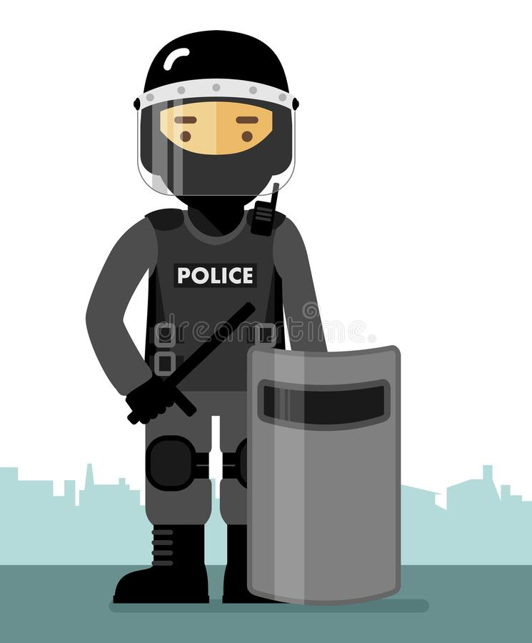 Police riot officer in uniform. Police riot standing with shield and baton isolated on white background in flat style vector illustration