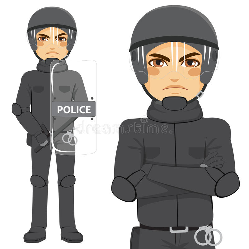 Police Riot Officer. Young police man riot officer standing in uniform stock illustration