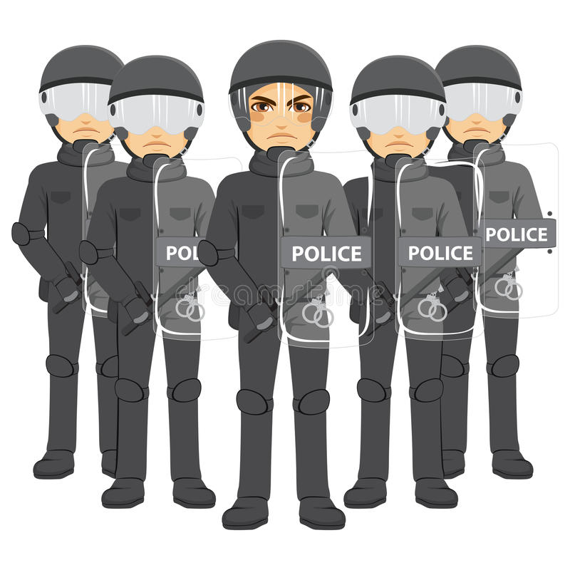 Police Riot Team. Armed standing working holding shield barrier vector illustration