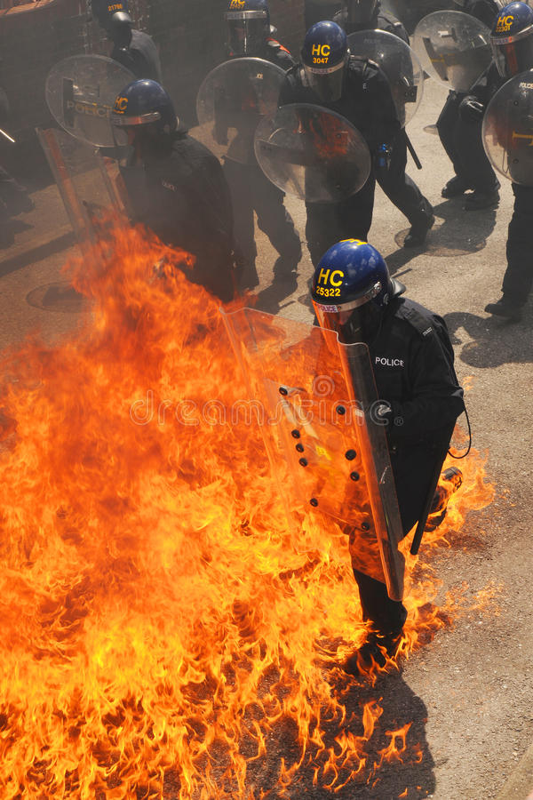 Police riot training royalty free stock image