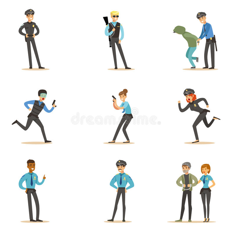 Police And Road Patrol Happy Cartoon Character On Duty Wearing Policeman Uniform Set vector illustration