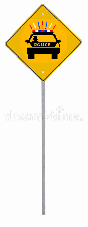 Download Police Road Sign stock image. Image of ticket, lights - 24673969