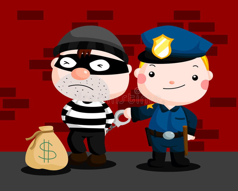 Police and Robber vector illustration