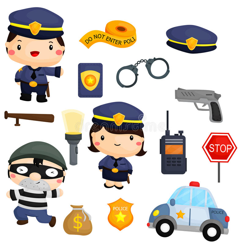 Police and robber vector set royalty free illustration