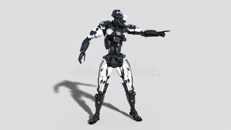 Police robot, law enforcement cyborg pointing, android cop isolated on white background, 3D render. Ing royalty free illustration