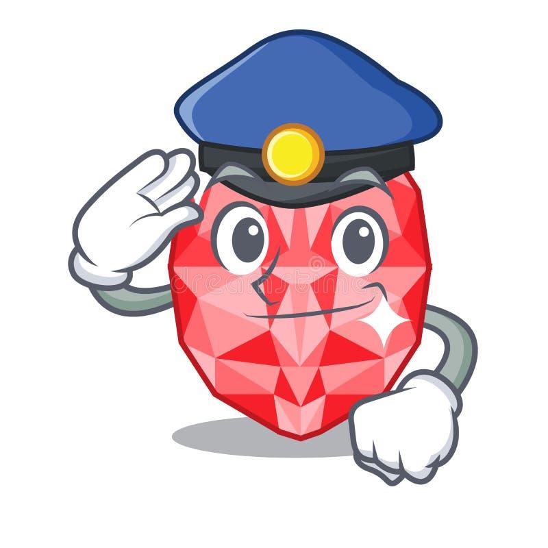 Police ruby gems in a cartoon box. Vector illustration royalty free illustration