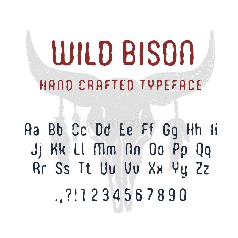 Police sauvage tirée par la main de bison illustration stock