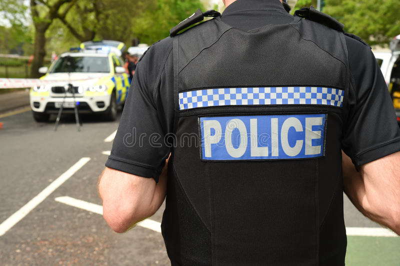 Police at the scene of a traffic incident. royalty free stock photo