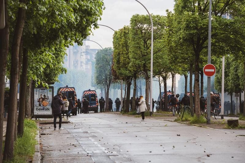 Police secure teargas near European Institutions during Yellow VEsts PRotest. Strasbourg, France - Apr 28, 2019: Police securing European institutions with royalty free stock images