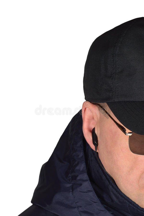 Free Police Security Guard Staff Policeman Covertly Listening On Specop Field Situation, Isolated Undercover Agent Covert Operations Stock Photos - 91571973