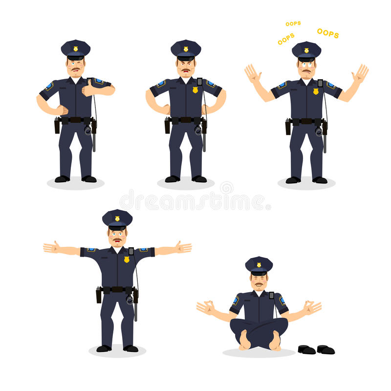 Police set of motion. Cop set different poses. Constable man exp royalty free illustration