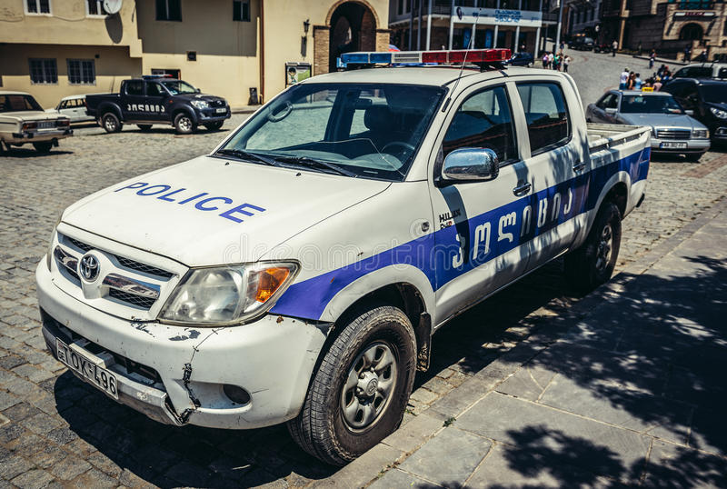 Police in Sighnaghi. Sighnaghi, Georgia - July 19, 2015. Toyota police car in Sighnaghi, small town in Kakheti district of Georgia stock image