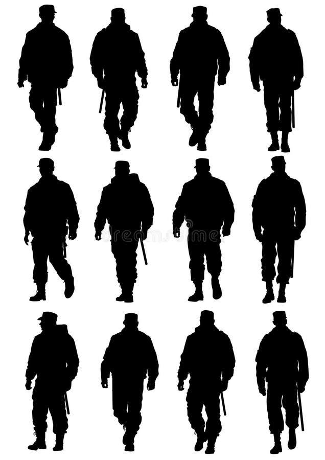 Police silhouette stock illustration