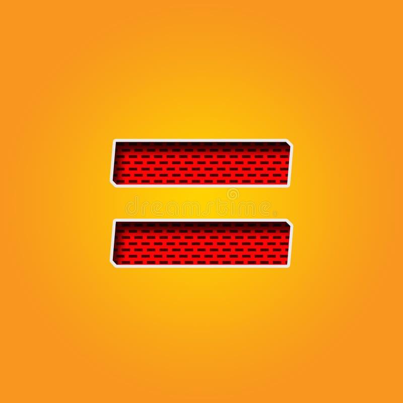 Police simple de caractère = de signe d'égalité dans l'alphabet orange et jaune de couleur illustration libre de droits
