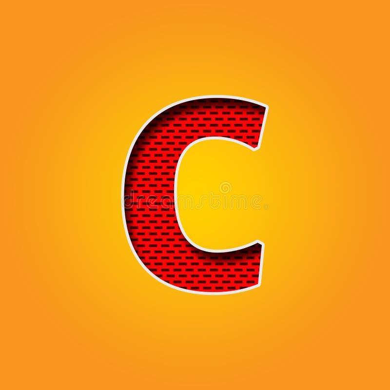 Police Simple Du Caractère C Dans L\'alphabet Orange Et Jaune De ...