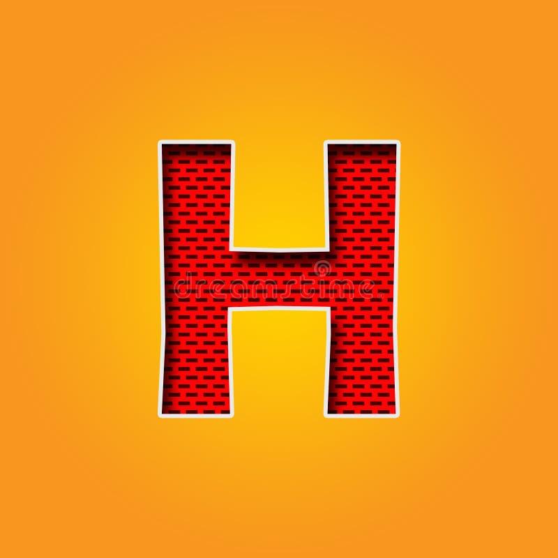 Police simple du caractère H dans l'alphabet orange et jaune de couleur illustration stock