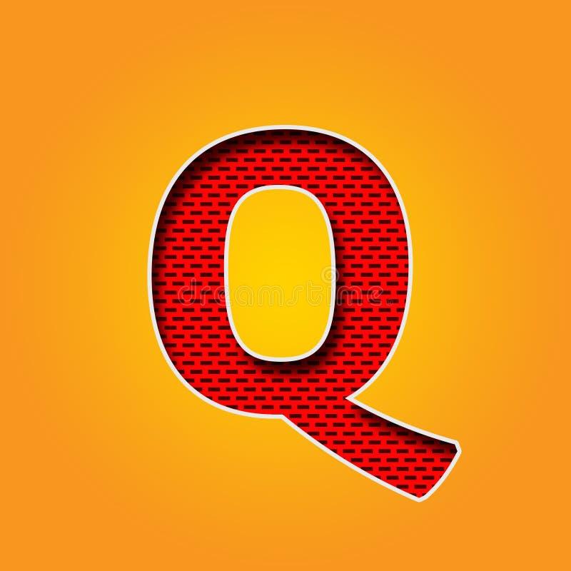 Police simple du caractère Q dans l'alphabet orange et jaune de couleur illustration libre de droits