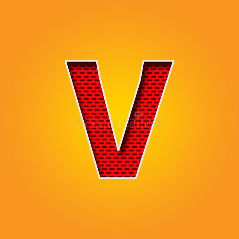 Police simple du caractère V dans l'alphabet orange et jaune de couleur illustration stock