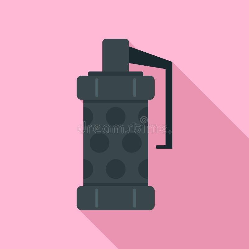 Police smoke grenade icon, flat style vector illustration