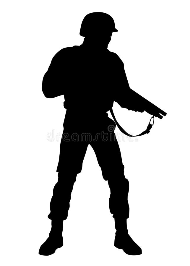 Armed police riot squad fighter vector silhouette. Police special forces fighter, SWAT tactical unit, riot control officer in helmet, armed with short barrel royalty free illustration