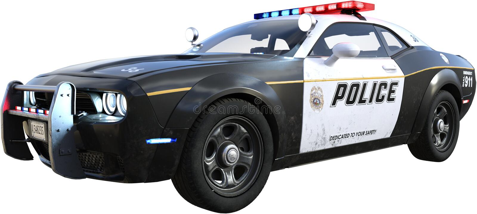 Police Squad Cop Car, Isolated, Law Enforcement. Illustration of a police cop squad car, The law enforcement auto is isolated on white, PNG file available royalty free illustration