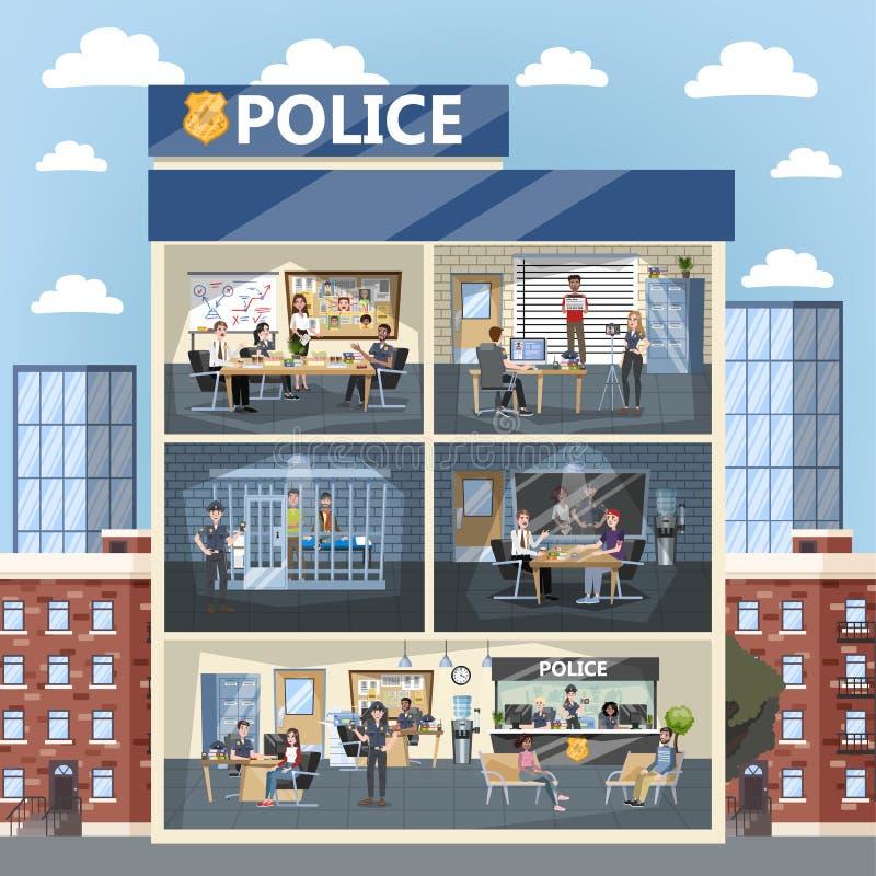 Police station building interior. Police officer inside vector illustration