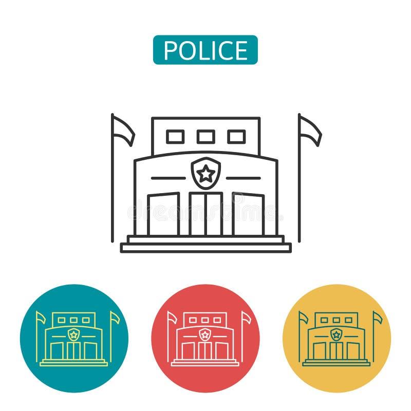 Police station building outline icons set. stock illustration