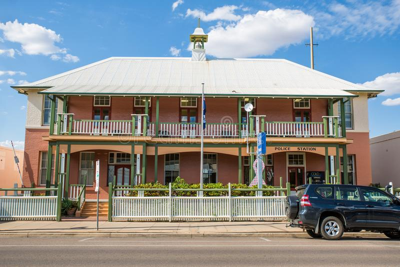 Police Station, Charters Towers. Street view of the colonial-ers Police Station in Gill Street, Charters Towers, Queensland stock photo