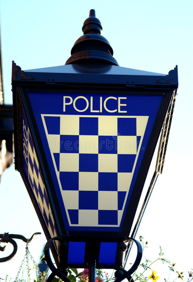 Download Police Station Lamp Sign, Scotland Stock Photo - Image of white, check: 171944