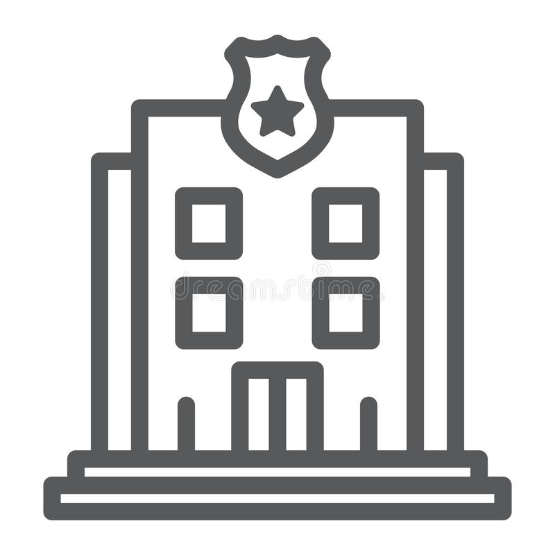 Police station line icon, police and building, police department sign, vector graphics, a linear pattern on a white royalty free illustration