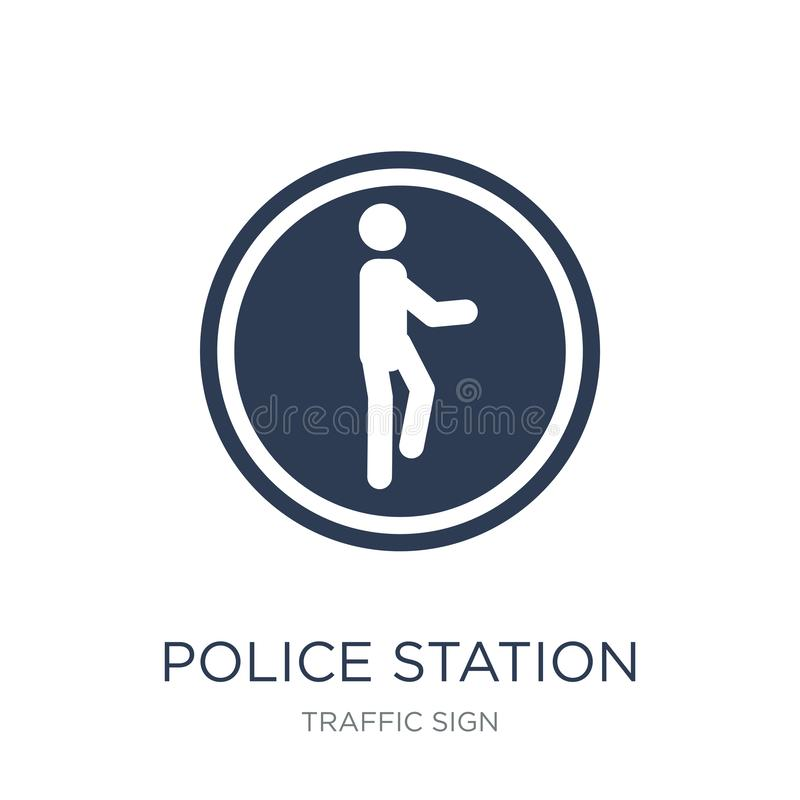 Police station sign icon. Trendy flat vector Police station sign royalty free illustration