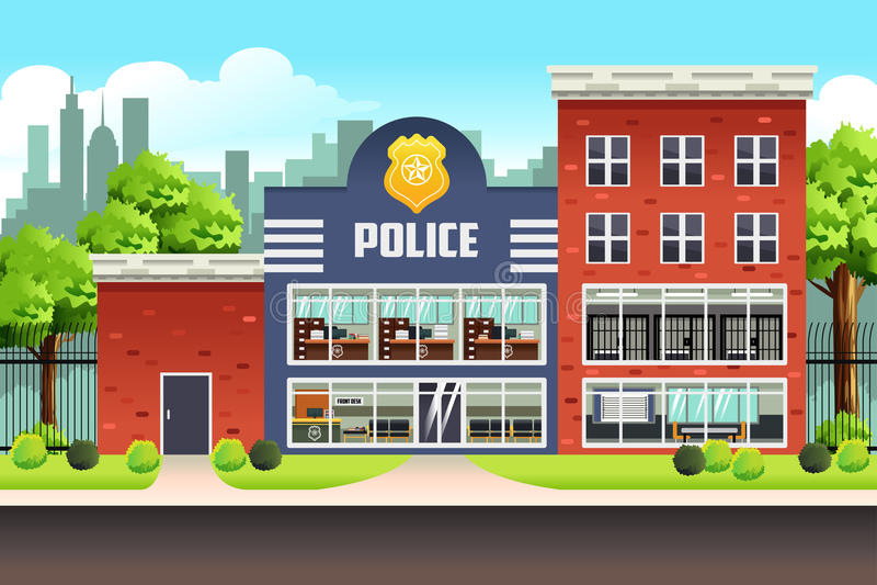 Police Station vector illustration