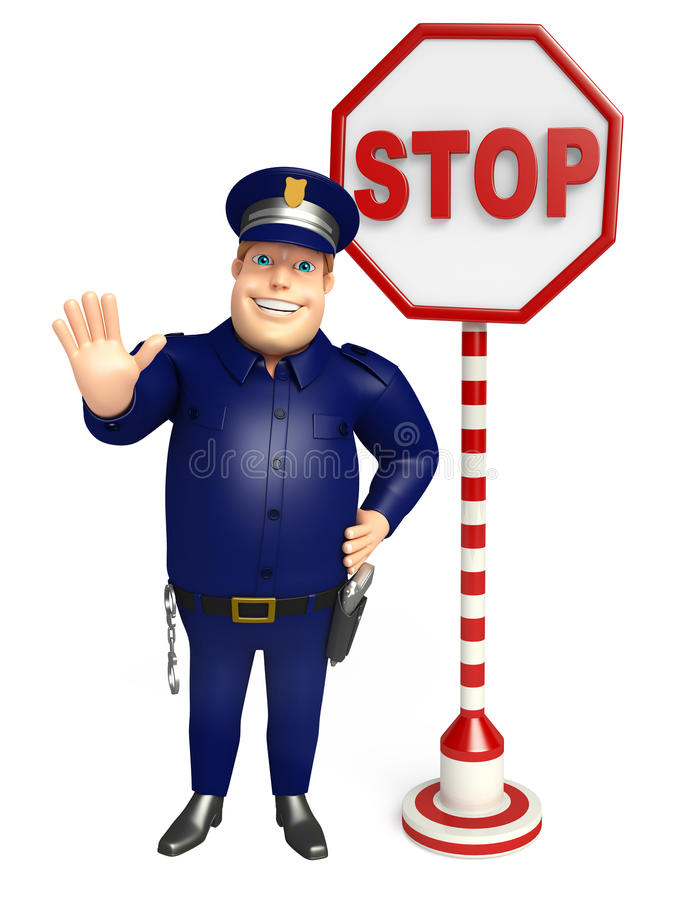 Police with Stop sign. 3d rendered illustration of Police with Stop sign royalty free illustration