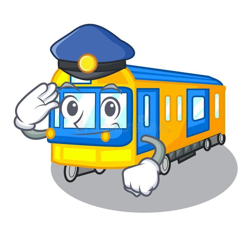 Police subway train in the shape characters. Vector illustration stock illustration