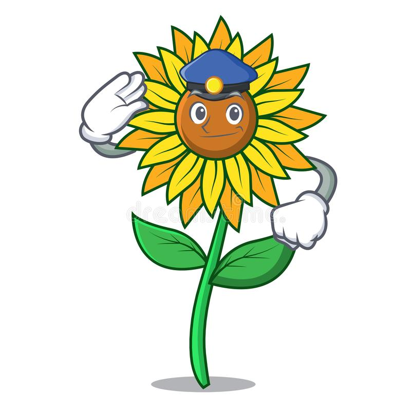 Police sunflower character cartoon style royalty free illustration