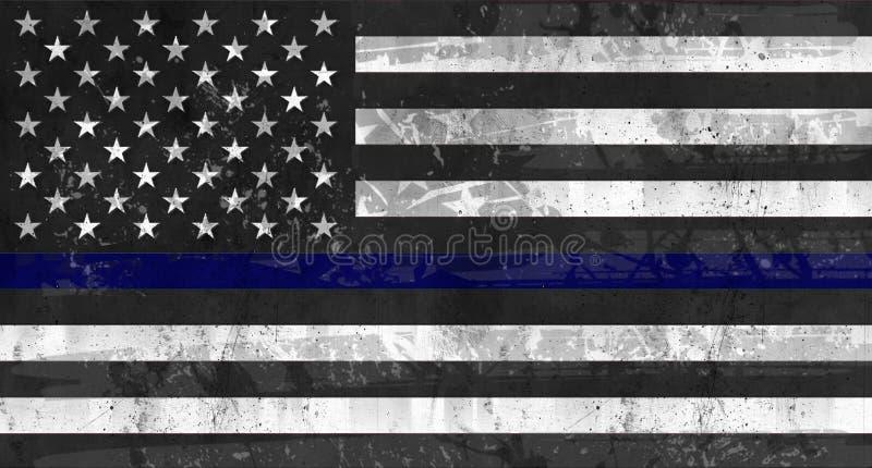 Police Support Flag Grunge Black Blue stock image